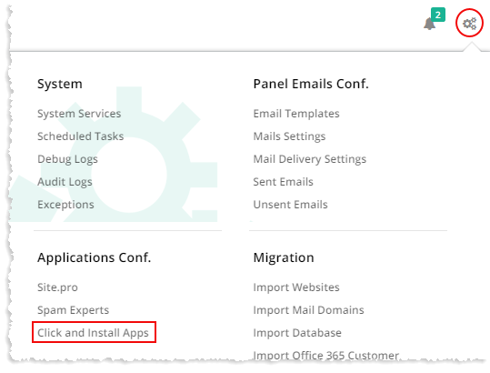 Configuring Click and Install Apps in HC10 Panel - Hosting